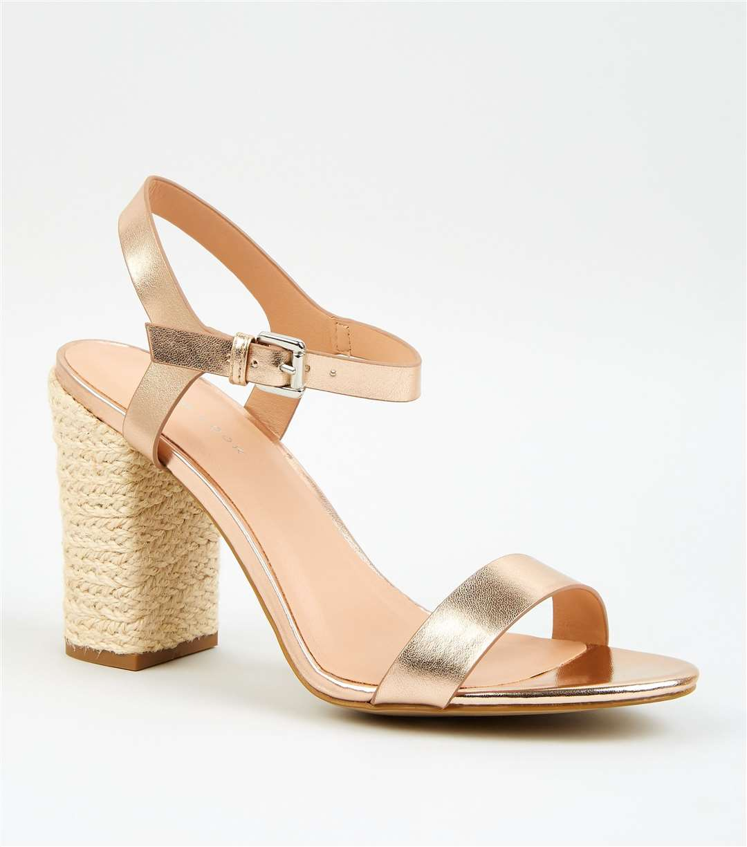 CHUNKY SANDALS New Look Rose Gold Leather-look Espadrille Block Heel Sandals, £22.99 (13640615)