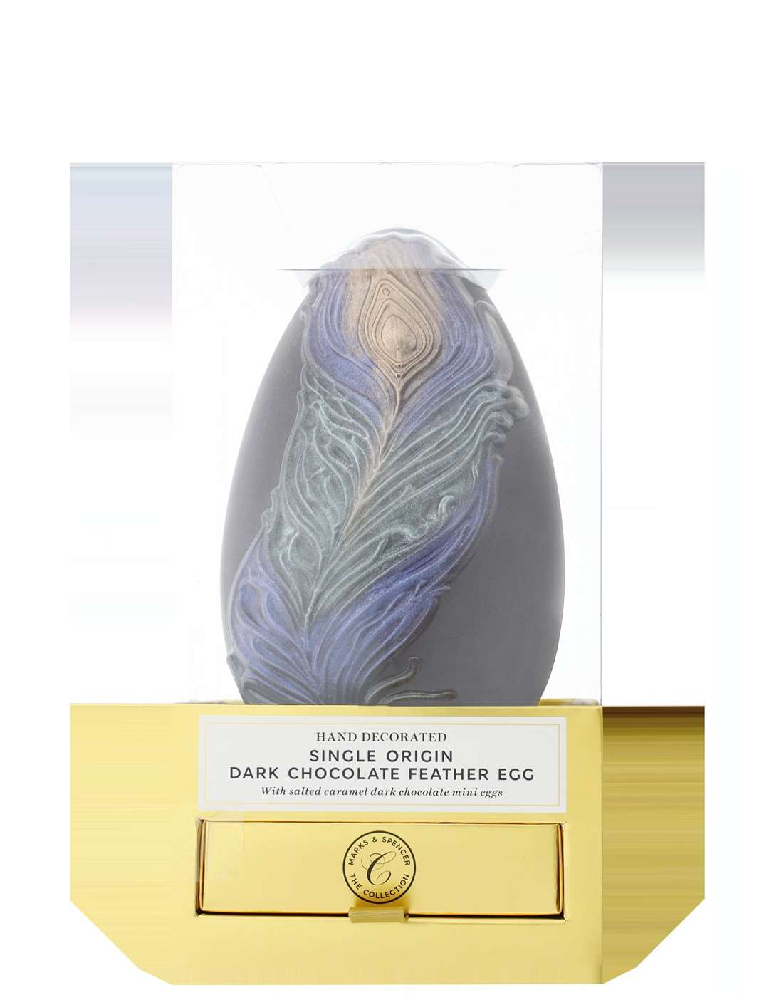 M&S Hand Decorated Single Origin Dark Chocolate Feather Egg