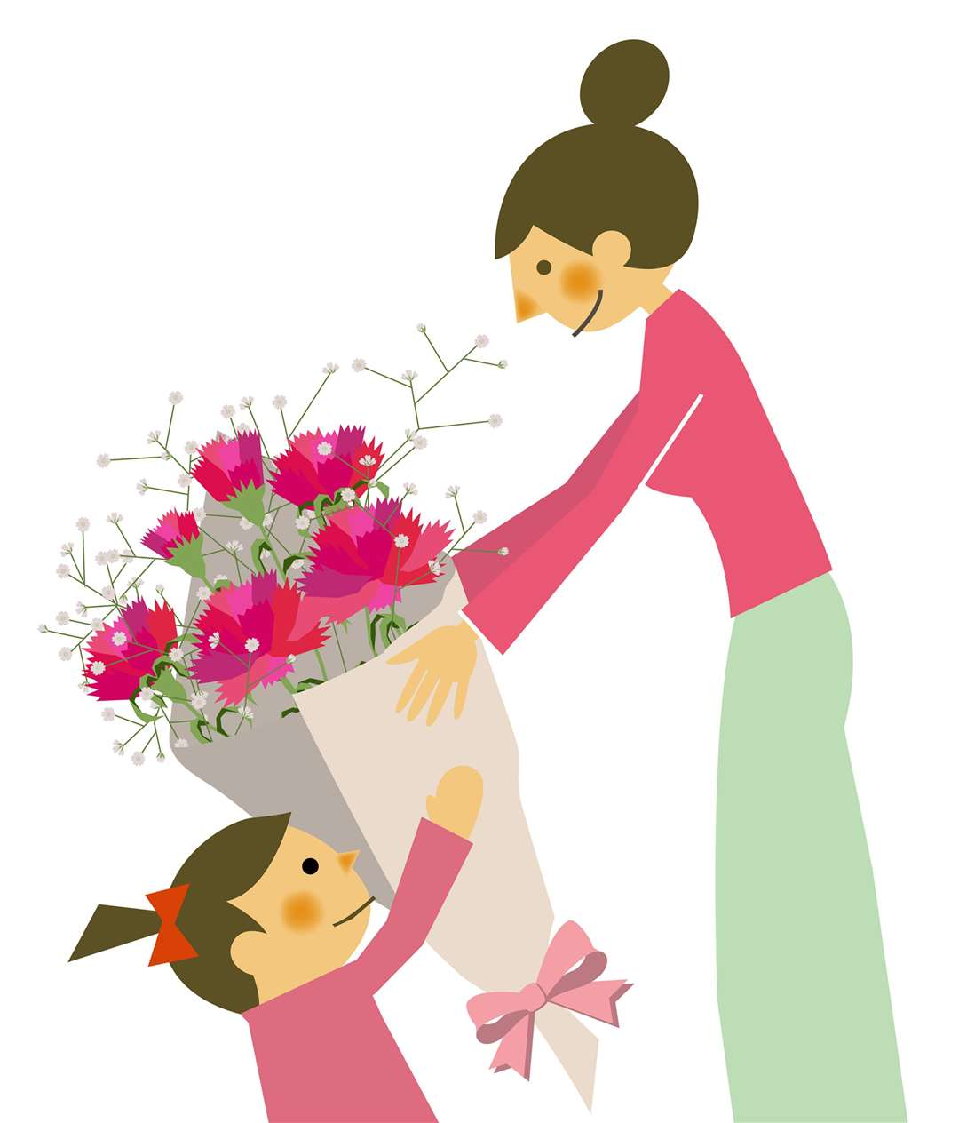 Illustration of mum getting flowers (6930247)