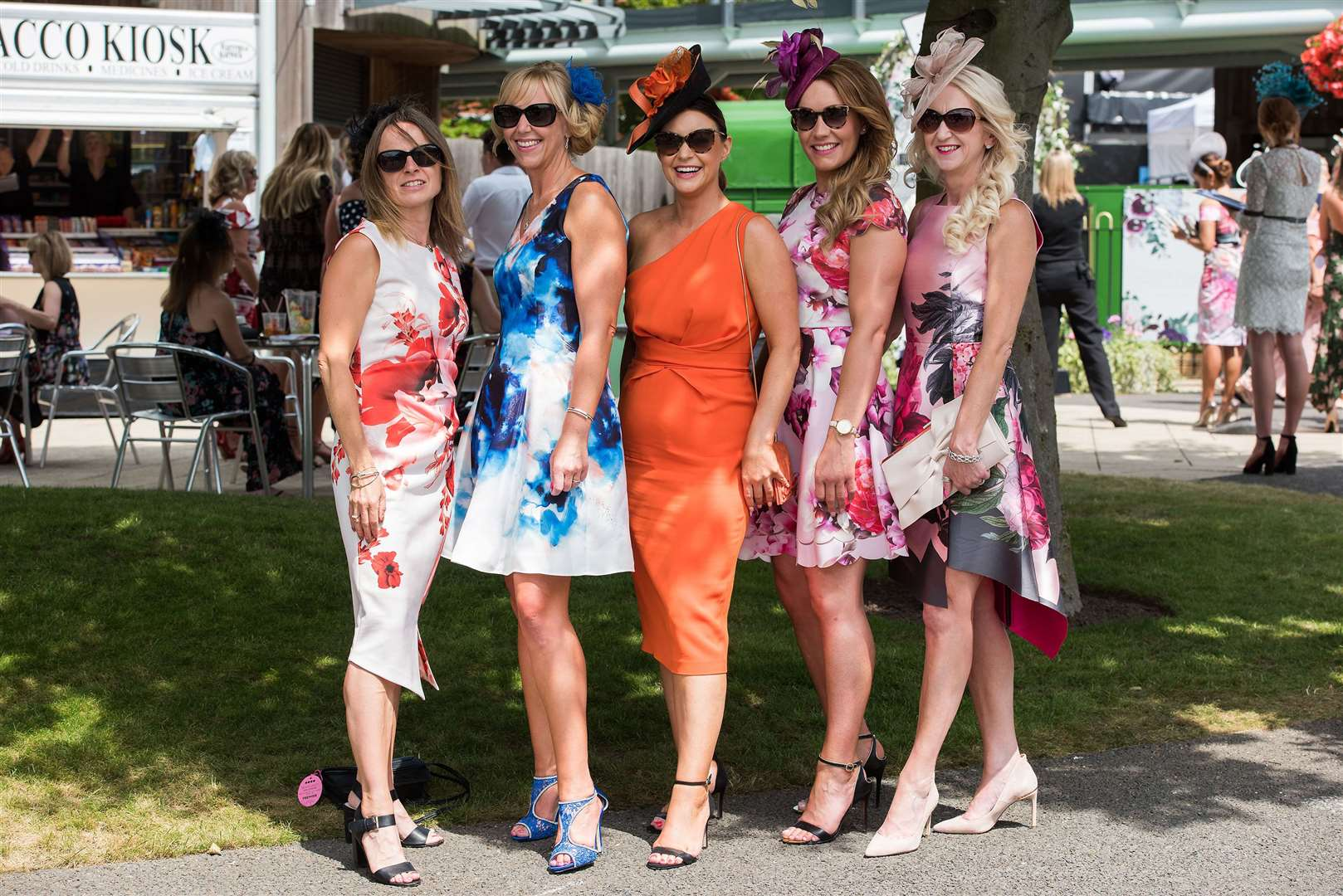 Newmarket July Course Ladies Day 2019 Jackie Murfitt, Emily Lawrence, Jodie Davis, Kay Spooner and Kerry Goodwin from Ely Picture by Mark Westley. (13823924)
