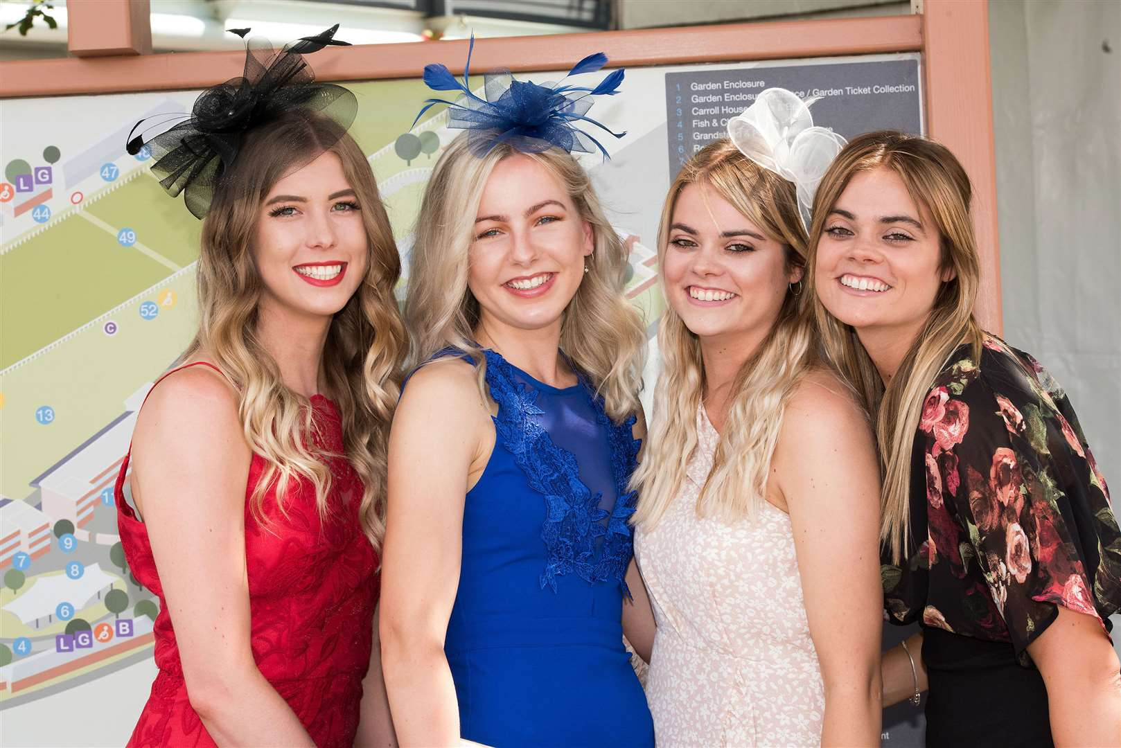 Newmarket July Course Ladies Day 2019Rachael Collett, Cara Edwards, Gemma Leggett and Emila Leggett from Ipswich. Picture by Mark Westley. (13823917)